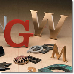 Cast Metal Sign Letters, cast metal, painted metal and bronze finishes